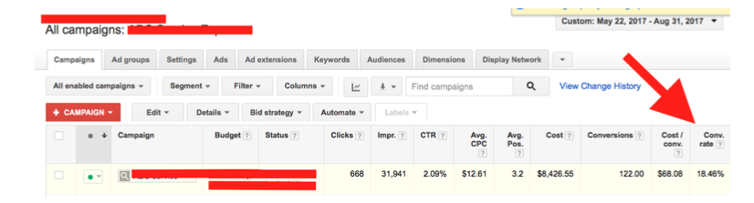 Screenshot form Google Adwords Account