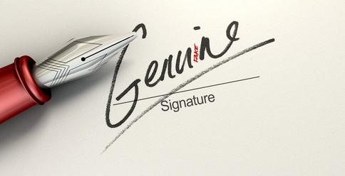 A deceptive concept showing a pen having just written on a white paper a signature that reads genuine but reads fake with a closer look